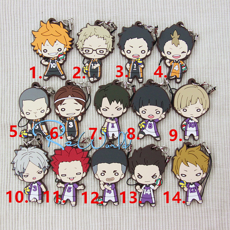 Haikyuu! Anime Hinata Shoyo Nishinoya Yuu Tsukishima Kei Tendo Satori Shirabu Kenjirou Shiratorizawa Rubber Keychain baby girls infant love applique tutu set baby lace romper dress crib shoes headband 3 piece newborn baby girl clothing set bebe