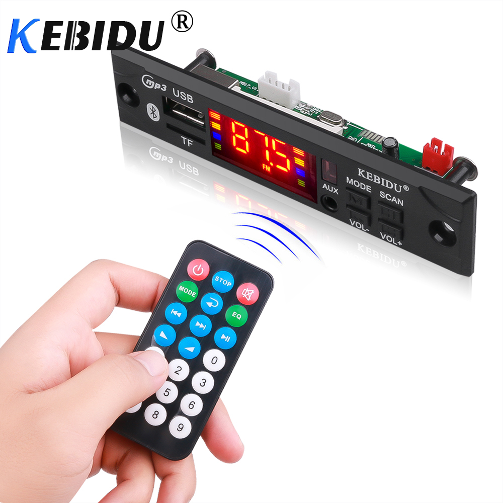Kebidu Car Audio USB TF FM Radio Module Wireless Bluetooth 5V 12V MP3 WMA Decoder Board MP3 Player With Remote Control For Car
