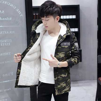 2016 New Parka Mens Winter Jackets and Coats Warm Thick Zipper Army Green Camouflage Hooded Men Winter Jacket A4554