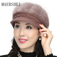 MAERSHEI Womens winter cotton hat knit middle-aged retro woman plus velvet warm mother rabbit wool cap