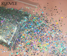 Solvent Resistant Holographic Laser Silver Glitter Mix Hexagon Powder Shape for DIY Nail Polish Gel Acrylic Craft Art-10Gram