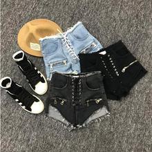 Fanco летние новые модные сексуальные шорты на молнии с высокой талией женские синие Черные Серые джинсовые шорты в студенческом стиле со шнуровкой в Корейском стиле