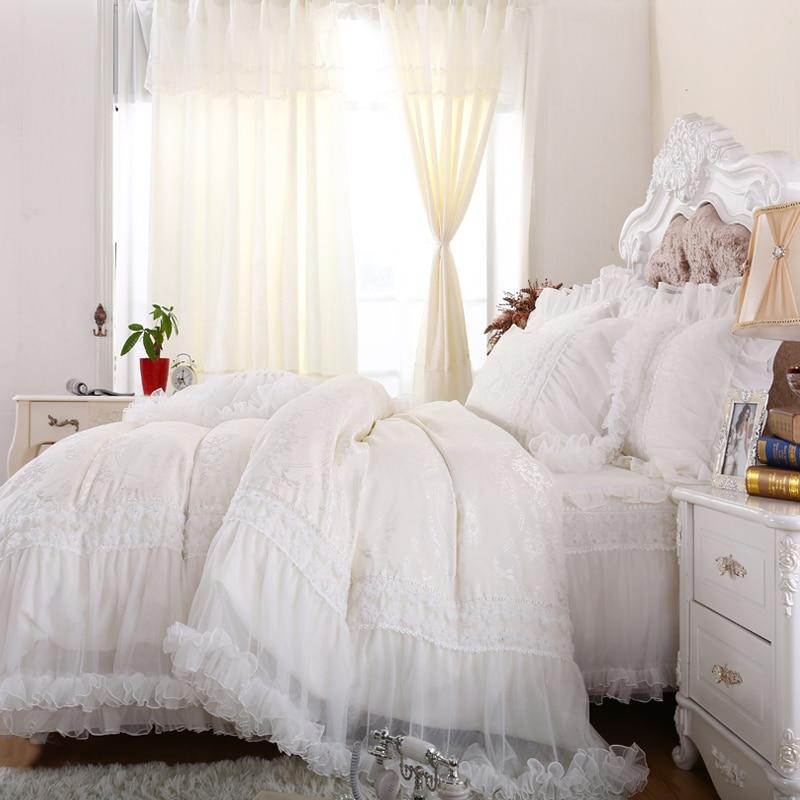 Luxury princess white bedding set full queen cotton fairyfair ruffle bedclothes bedskirt pillow case quilt cover