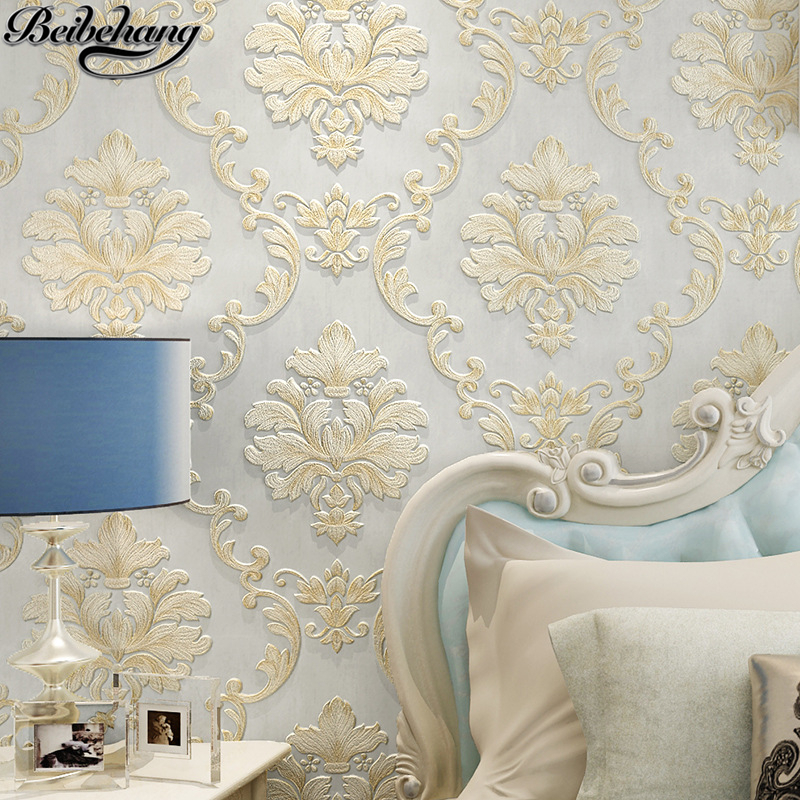 beibehang European non - woven wallpaper relief Damascus bedroom living room wallpaper 3D study television background wallpaper beibehang children room non woven wallpaper wallpaper blue stripes car environmental health boy girl study bedroom wallpaper
