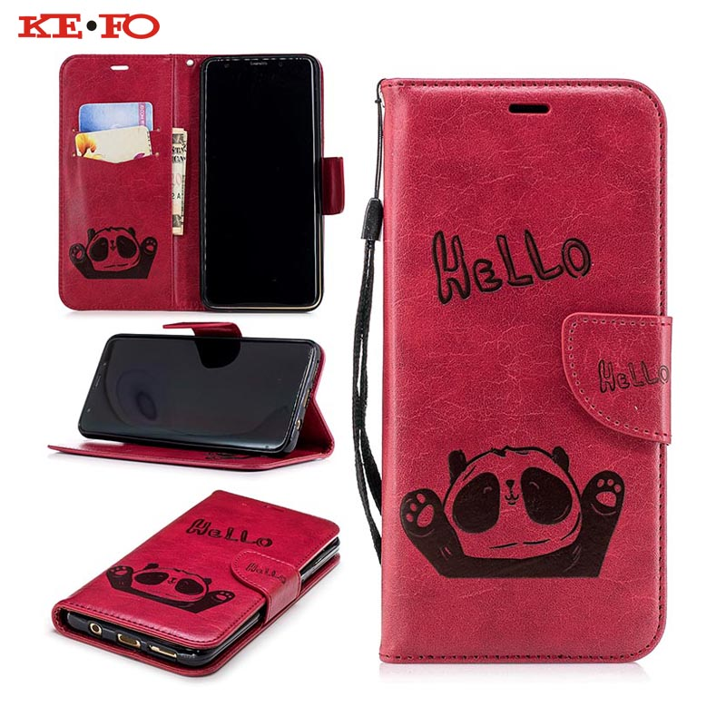 KEFO Phone Case For Samsung Galaxy S8 S9 Plus Note 8 A8 A6 Plus 2018 3D Panda Emboss Wallet Cover For Iphone X 5S SE 6S 7 8 Plus