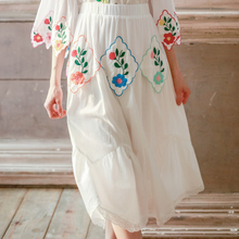 LYNETTE'S CHINOISERIE Rustic vintage embroidery handkerchief patchwork a-line white skirt