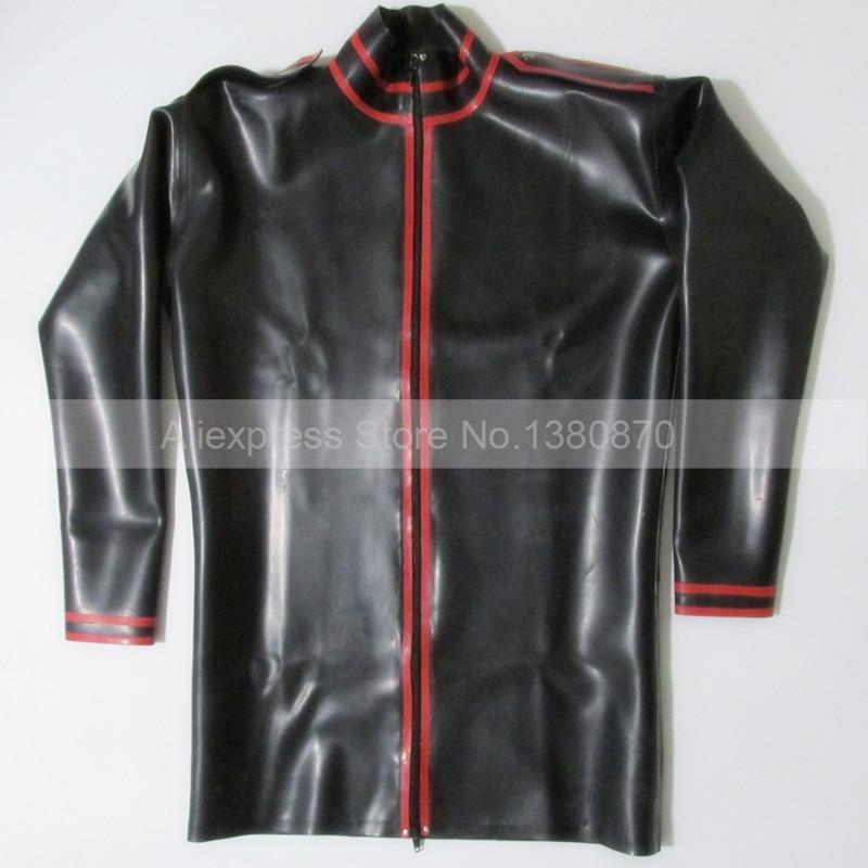 Черно красная рубашка из латекса с резиновой подкладкой и длинными рукавами для мужчин, боди Zentai с молнией спереди, S LSM012 - 4