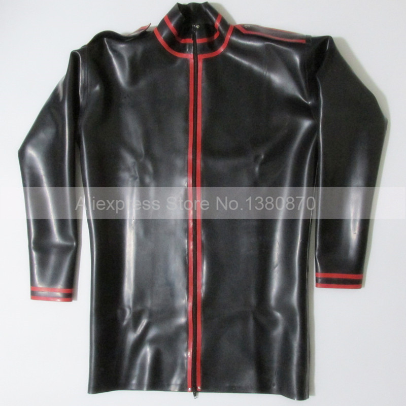 Black and Red Trims Latex ManTop Shirt Rubber Long Sleeves Male Teddies Bodysuit Zentai with Front Zip S LSM012 - 4