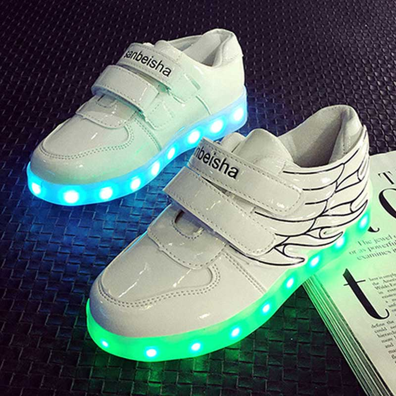 Eur 25-35 hot! 2016 fashion four seasons luminous LED light shoes boys and girls colorful flash USB charging causal shoes