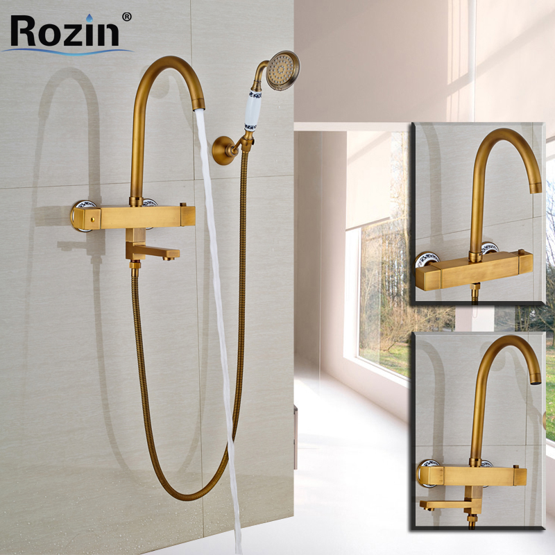 Brass Thermostatic Shower Faucet Mixing Valve Dual Handle: Brass Antique Dual Handle Swivel Tub Sink Faucet Rotation