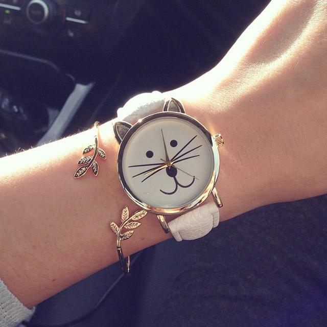 Lovely Cute Cat Watches Women Girls Gold Wristwatch Jelly Color PU Leather Brace