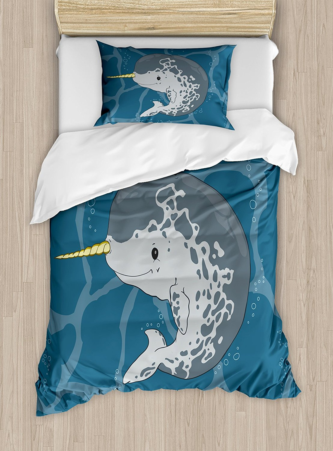 Narwhal Duvet Cover Set Happy Arctic Ocean Whale with Horn Swimming in the Sea Cartoon Style Animal Drawing 4pcs Bedding Set