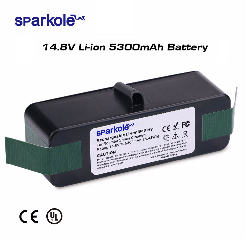 Sparkole 14.8V 5300mAh Rechargeable Battery Pack Lithium-ion Battery for iRobot Roomba Vacuum Cleaner 500 600 700 800 Series