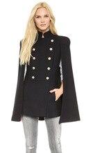 Hot Sale Women's double breasted military uniform jacket shawl cape coat Women clothing Casual Slim Woolen coats