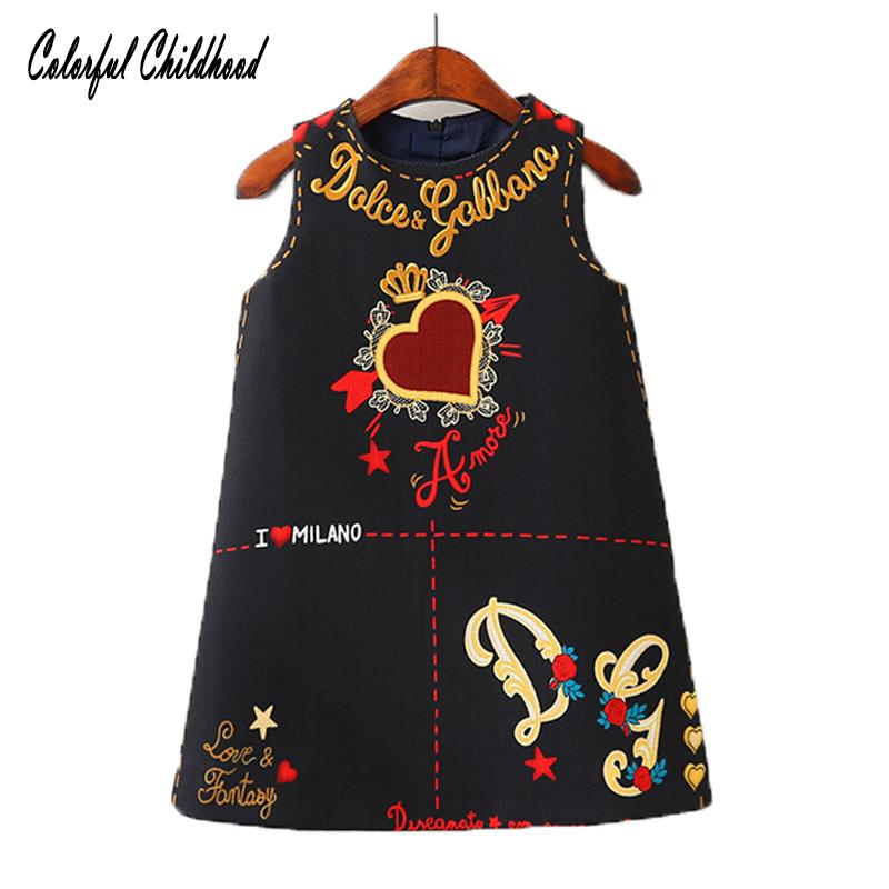 3a64928cf671b طفل الفتيات فساتين بلا أكمام س الرقبة طفل اللباس جميل القلب من خلال القلب  تصميم التطريز
