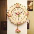 2017 новые качели немой цветок дизайн Роза кварцевые настенные часы дизайн moeden часы раз сильная упаковка