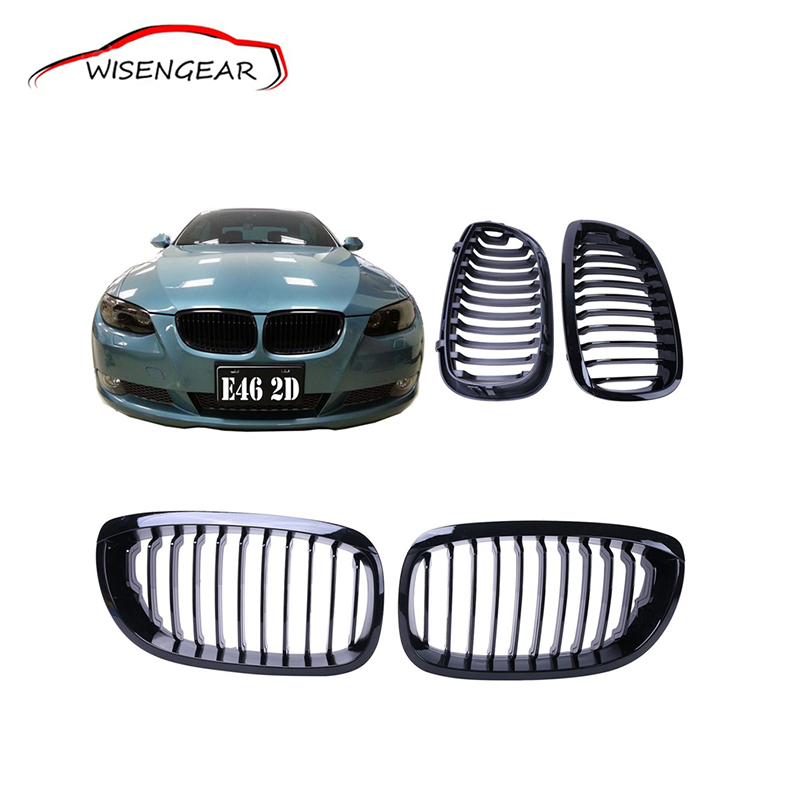 ФОТО High Quality One Pair Gloss Black Kidney Front Black M-color Grille Grilles For BMW E46 2004 2005 2006 Coupe Bumper Grille C/5