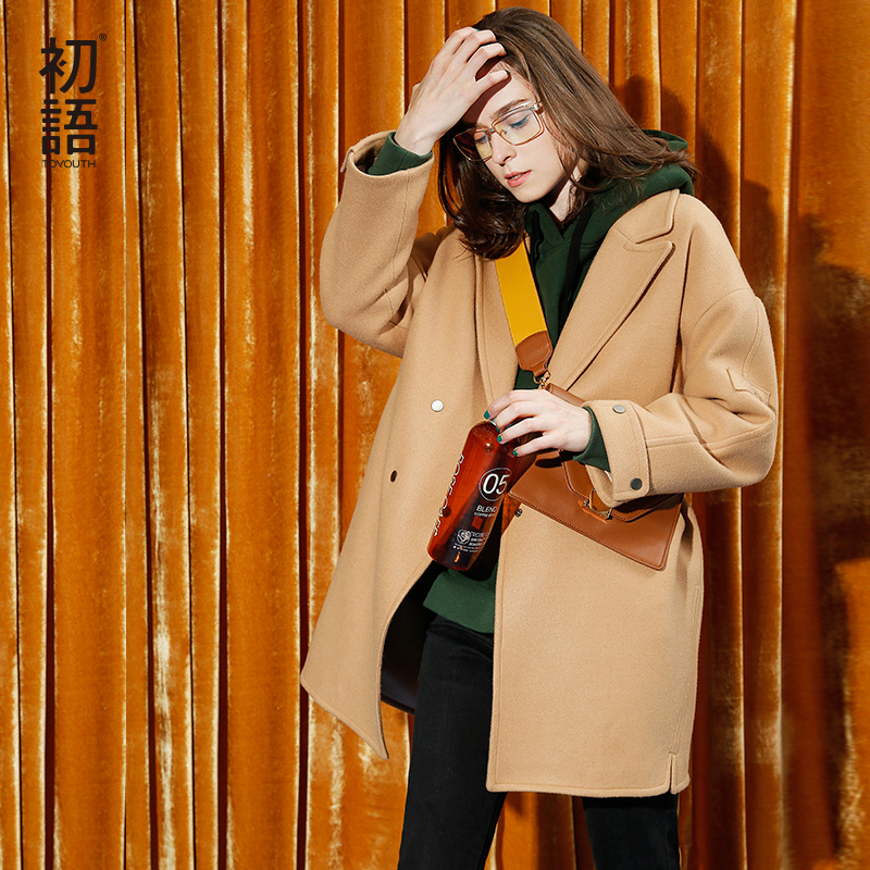 Toyouth Women Loose Double Breasted Overcoat Female Office Lady Woolen Coat Winter Solid Long Sleeve Wool