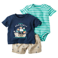 Carters New 2015 Summer Autumn Clothing Set Newborn Baby Boy Clothes Kids Clothes Baby Romper Short
