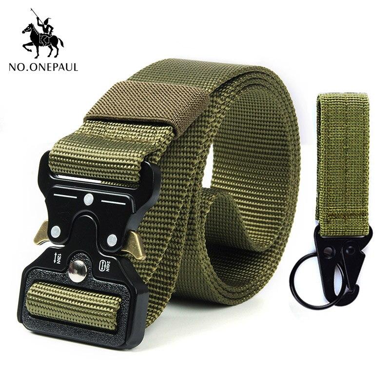 NO. ONEPAUL тактический ремень военный высококачественный нейлоновый мужской тренировочный с металлической многофункциональной пряжкой для занятий спортом на открытом воздухе Новинка - Цвет: kkkk Package 1 green