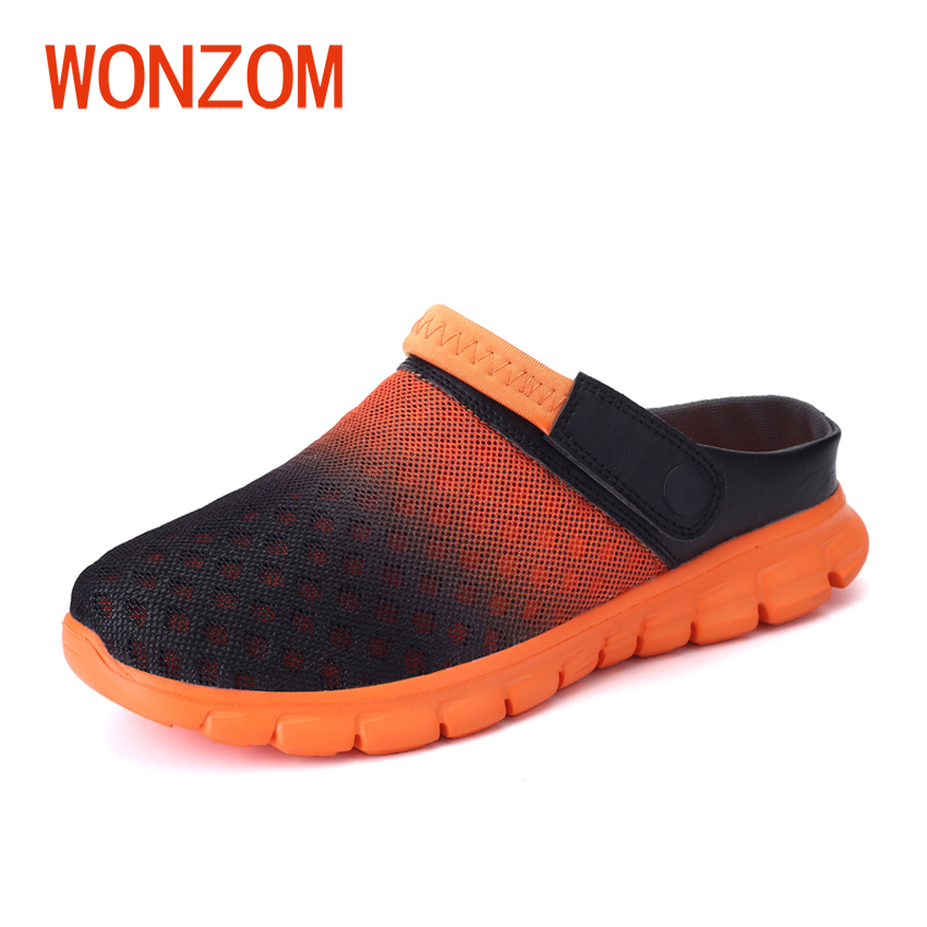 WONZOM 2018 New Summer Men Sandals Fashion Hollow Out Breathable Beach Slippers Casual Slip-on Unisex Flats Sandals Size 36-46