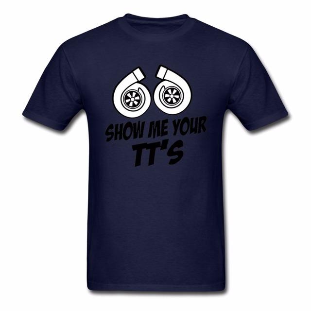 Marca Me Mostrar O Seu Gémeo do Tt Turbo Carro Masculino Pré-Cotton Tee Top À Venda Em Torno Do Pescoço Dos Homens das Camisetas