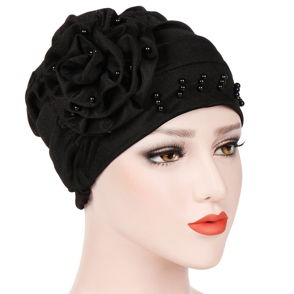 Muslim Female Hats for Women Headscarf India Flower Pearl Turban Chemotherapy Wrap Caps for Ladies Cancer Chemo Hats femme headpiece