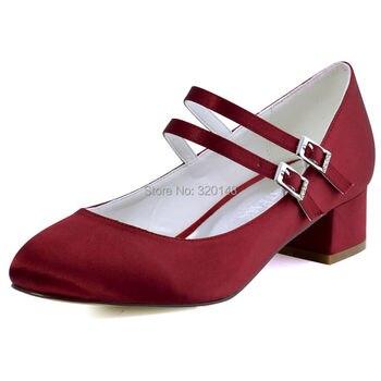 FC1615 Shoes Woman Dark Red Plus Size 12 Block heel Mary Jane Comfort Heel Satin Bride Lady Wedding Bridal Evening Pumps White 2