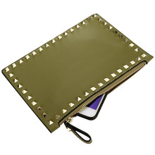 Green Mini PU Leather Clutch Bag Envelop Luxury Purses And Handbags Evening Party Bags Rivet Clutches Designer Messenger