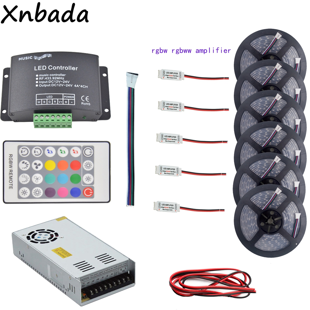5~30m 5050 RGBW RGBWW(4 In 1)Led Strip Light+1Set Music Led Controller+RGBW Led Amplifier+12V Led Power Adapter+2Pin Led Wire купить недорого в Москве