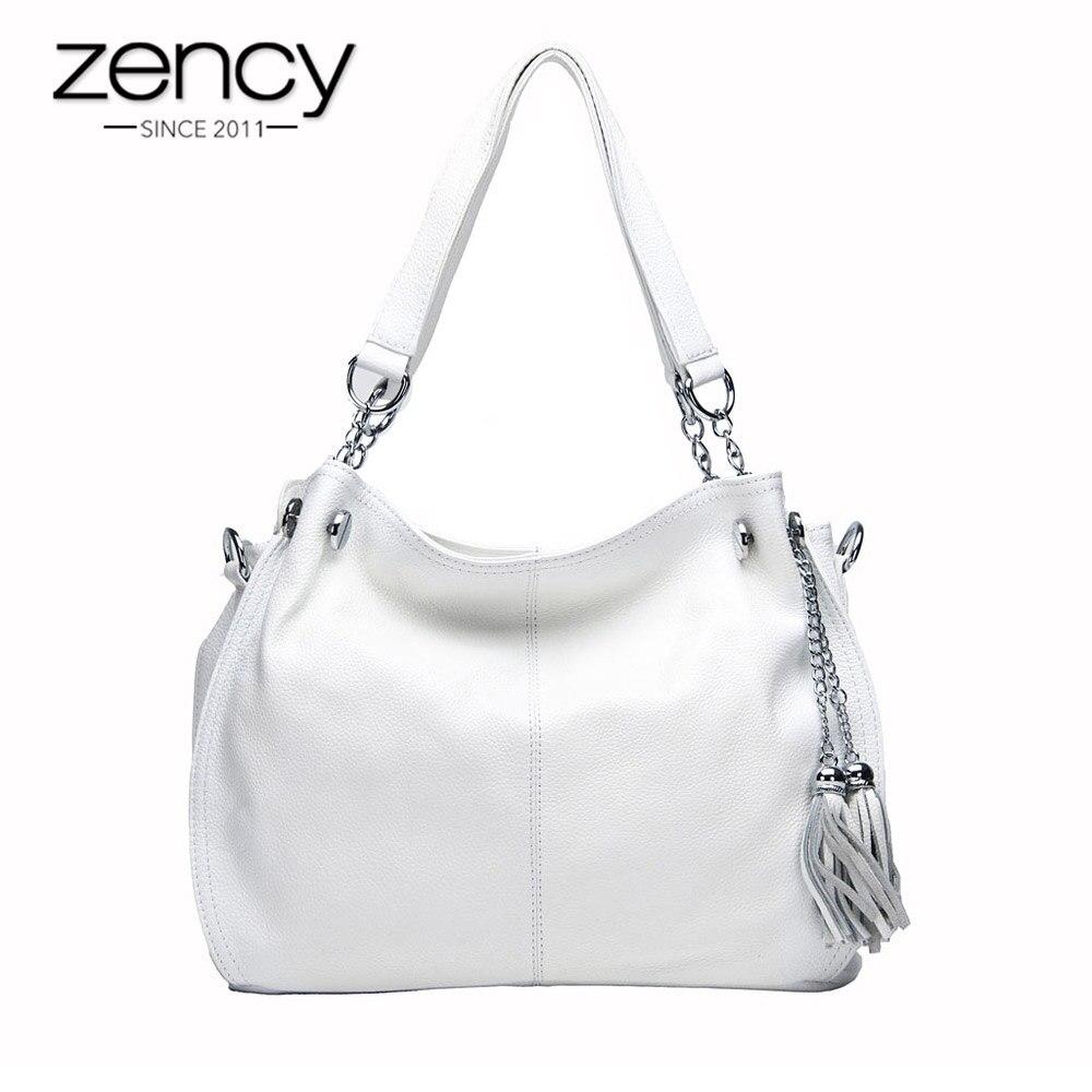 Zency Классический бренд Для женщин сумка 100% натуральная кожа Мода кисточкой Hobos Сумочка женская сумка-мессенджер bolso hombro mujeres