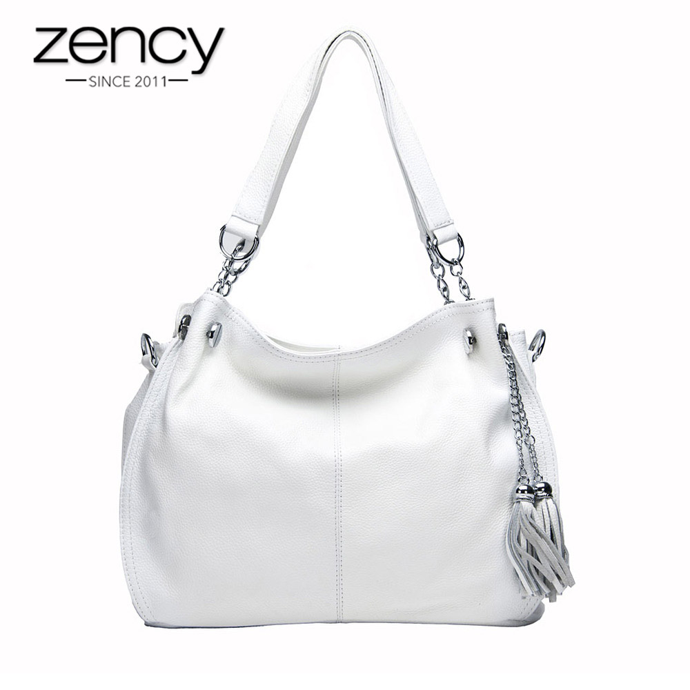 Zency Classic Brand Women Shoulder Bag 100% Genuine Leather Fashion Tassel Hobos Handbag Ladies Messenger bolso hombro mujeres