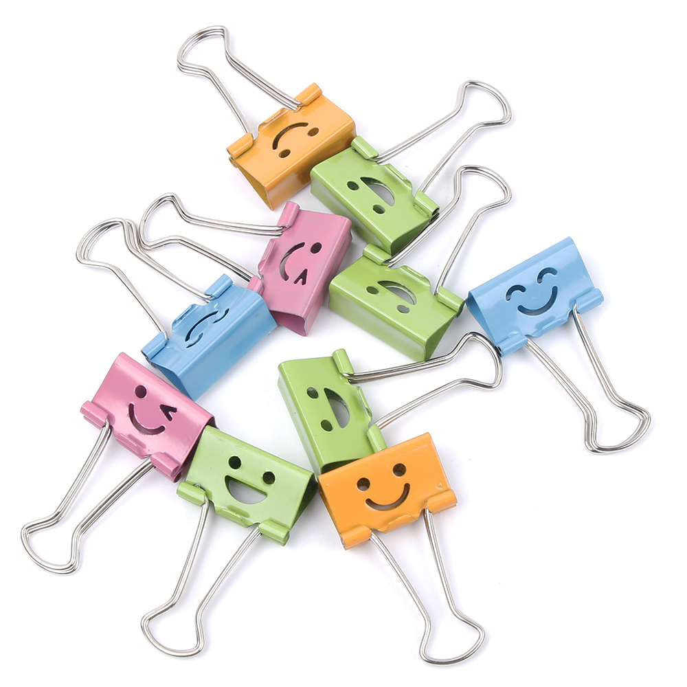 10Pcs Cute Smile Metal Binder Clips Sweet Expression Food