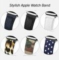 2016 mais novo elegante band para a apple relógio leopardo de couro real pattarn jeans camouflage ponto onda band para i assistir venda quente