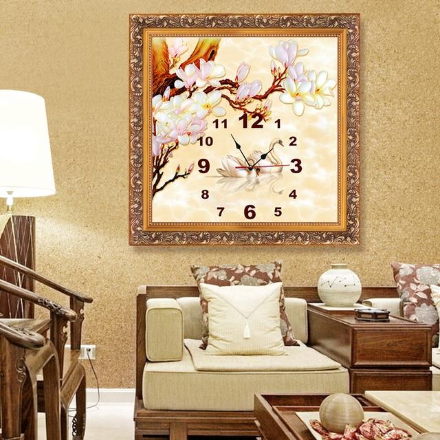 3d Home Decor Quartz Diy Wall Clock Clocks Diamond Embroidery Swan Painting Cross Stitch Mosaic Patterns