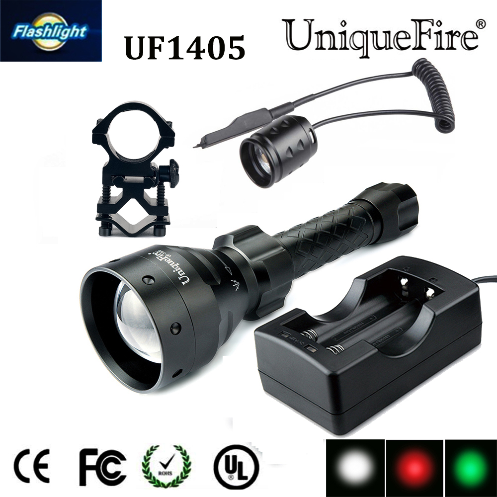 ФОТО 2016  UniqueFire 1405 XP-E Rechargeable Flashlight Led Green/Red/White Light Torch+Charger Convex Lens Lamp for 2*18650 Battery