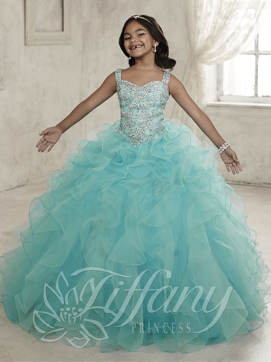 2017 Beauty Halter Neck Crystals Beaded Glitz Little   Girls   Pageant   Dresses   Light Blue Ball Gown Kids   Flower     Girl     Dress