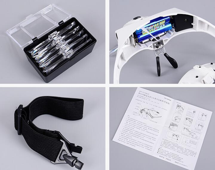 Headband Magnifier Glass with LED Lamp