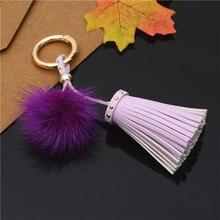 Mink Fur Ball Tassel Keychain
