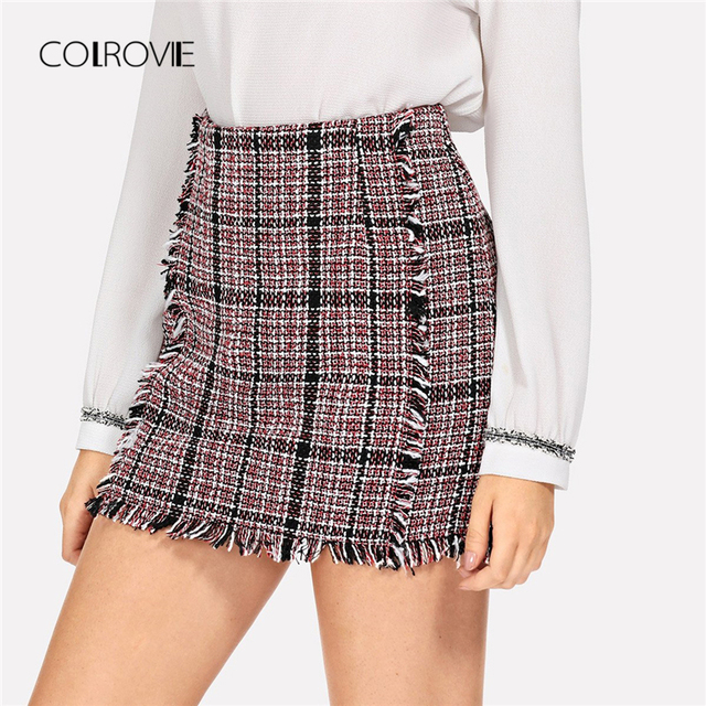 537c798ccf3 COLROVIE Frayed Trim Tweed Sweet Korean Plaid Skirt Women 2018 Autumn  Elegant Sexy Mini Skirts Female Bodycon Winter Skirts