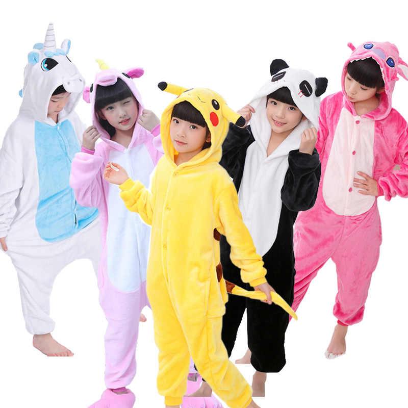 Дети пижамы комбинезоны животных Единорог стежка Pegasus пижамы с Пикачу  для фланель для мальчиков и девочек 086db648a7001