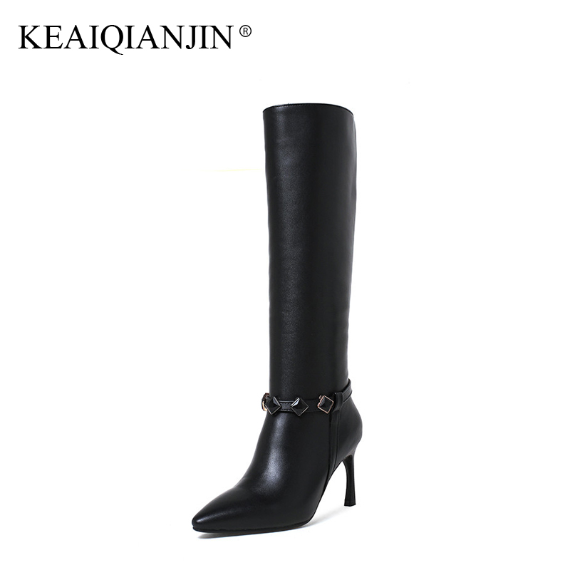 KEAIQIANJIN Woman Pointed Toe Botas Autumn Winter Plus Size 33 - 43 Genuine Leather High Heel Shoes Black Knee High Boots 2017