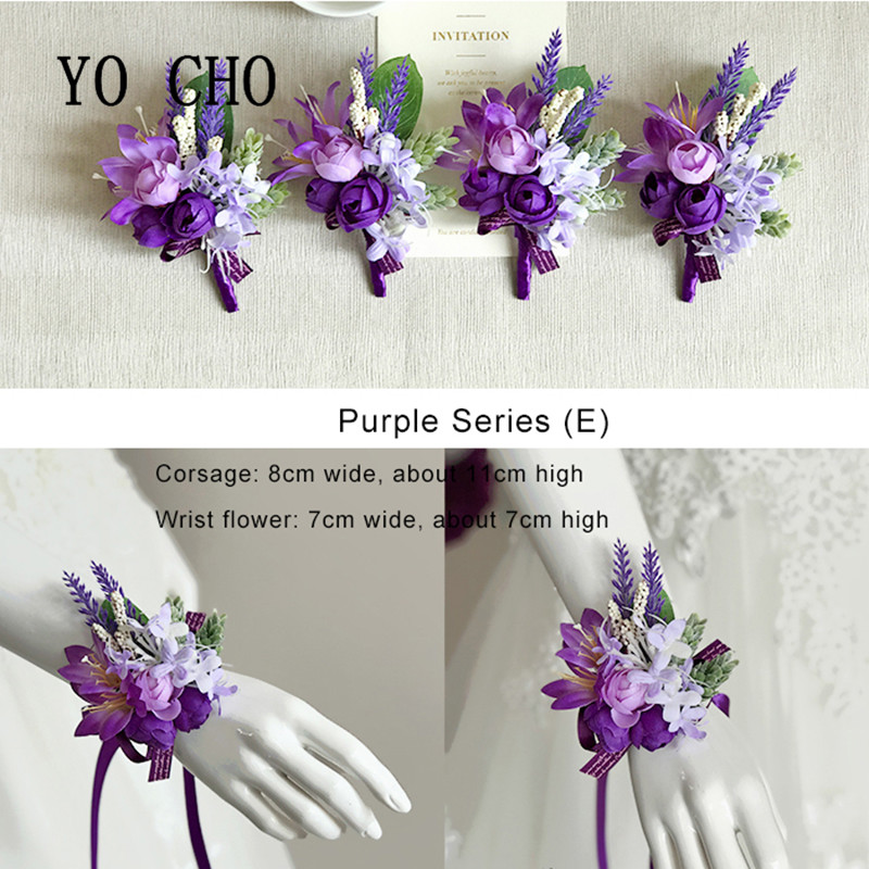 YO CHO Purple Bridesmaid Wrist Flowers Handmade Wedding Corsages And Boutonnieres Brooch Artificial Rose Bride Groom Boutonniere