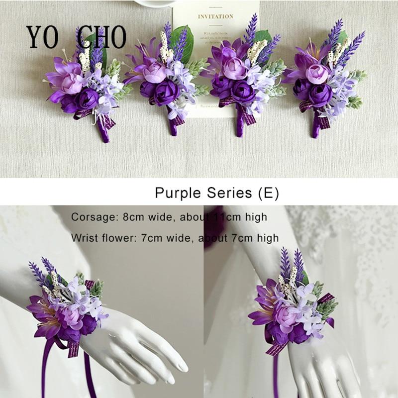 YO CHO фиолетовые цветы подружки невесты ручной работы свадебные корсажи и Брошь бутоньерка искусственная бутоньерка для жениха
