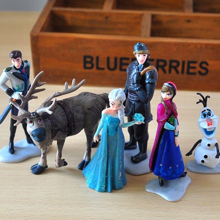 Disney Princess Toys 6pcs/Lot 5-11cm Frozen Snow Queen Elsa Anna Olaf Sven Kristoff Pvc Action Figure Doll For Kids Gift стоимость
