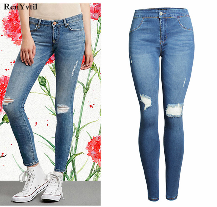 RenYvtil Women Summer Pencil Pants Casual Trousers For Lady Blue Ripped Jeans High Elastic Skinny Hole Denim Pants Free Shipping