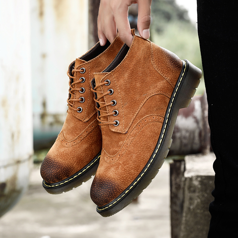 Casual Genuine Leather Boots Men Winter Warm Men Leather Shoes Men Leather Ankle Shoes
