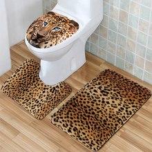 HOT!!!3Pcs/set Bathroom Non Slip Leopard Texture Pedestal Rug+Lid Toilet  Cover+Bath Mat