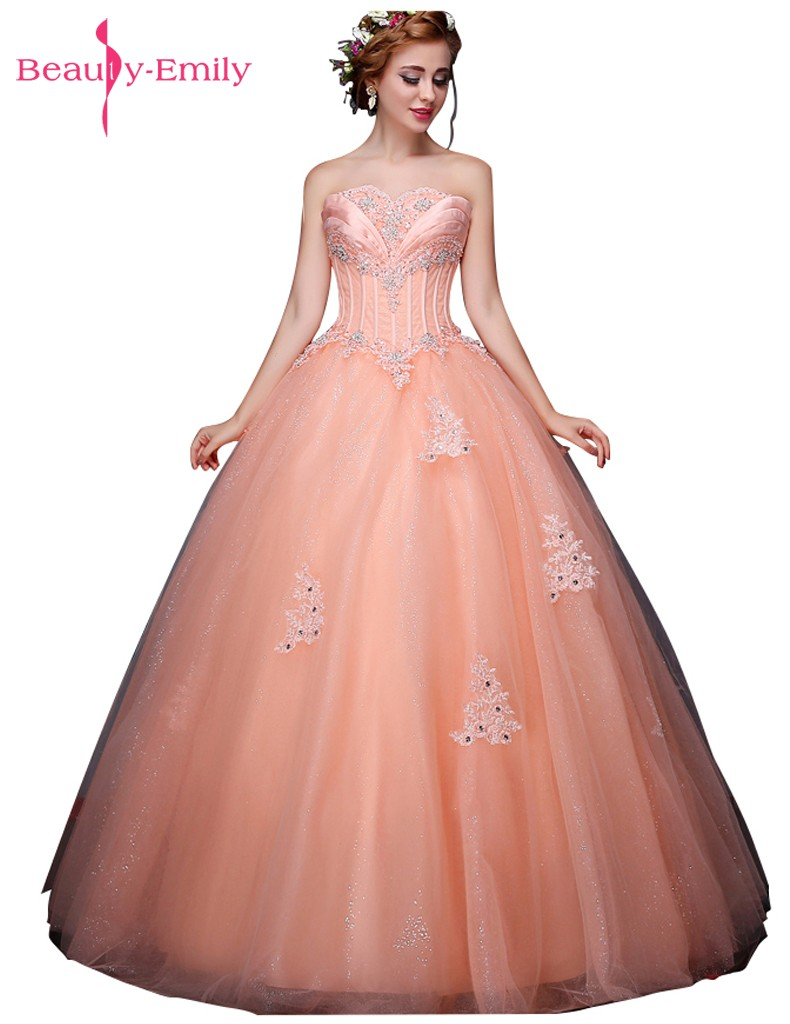 Beauty Emily Candy Color Long Ball Gown Quinceanera Dresses 2019 Princess Girl Dresses Sweetheart Sleeveless Lace