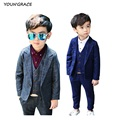 2016 New Design 3Pcs Boys Plaid Wedding Suit Brand England Style Gentle Boys Formal Tuxedos Suit Kids Spring Clothing Set, C157